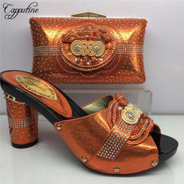 Fashion Bags Summer For Woman NZ - Designer Newest Africa Shinning Pu With Stone Shoes And Bag Set Nigeria Summer Woman Heels Shoes And Bag Set For Fashion Dress Bl935c