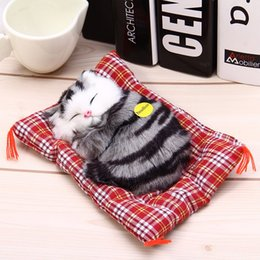 Sound Gifts Australia - oys with sound Stuffed Toys Lovely Simulation Animal Doll Plush Sleeping Cats Toy with Sound Kids Toy Decorations Birthday Gift For Child...