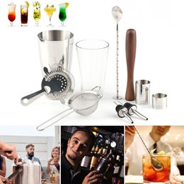 Discount bar shaker kit - New Stainless Steel Boston Cocktail Shaker Kit Bar Tool 10pcs New Fashion Wine Set