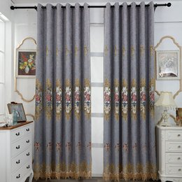 cotton chenille wholesale NZ - European Chenille Embroidery Half Shade Curtains for Living Dining Room Bedroom.
