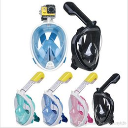 movement camera NZ - 4 Colors Underwater Diving Mask Snorkel Set Swimming Training Water Fun Full Face Snorkeling Mask Anti Fog With Camera Stand