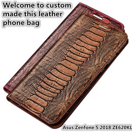 $enCountryForm.capitalKeyWord Australia - QX15 Ostrich Foot Pattern Gneuine Leather Phone Bag For Asus Zenfone 5 2018 ZE620KL Magnetic Case Kickstand Zenfone 5 2018 ZE620K Phone Case