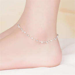 silver chain for ankle NZ - KOFSAC New 925 Sterling Silver Beads Chain Anklets Beach Party Simple Hollow Beads Ankle Bracelets For Women Foot Jewelry Gifts
