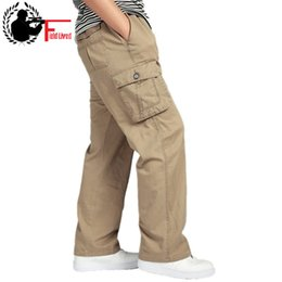 Trousers Big Size Man Australia - Men's Pants Large Size Big 4xl 5xl 6xl Plus Summer Men Elastic Waist Multi Pocket Long Baggy Straight Cargo Jogger Trousers Male Q190518