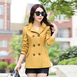 $enCountryForm.capitalKeyWord Australia - New 2019 Spring Autumn Large Size Female Windbreaker coats Korean Solid color Double-breasted Fashion Slim Jacket Women NO730