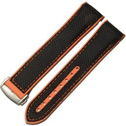 planet ocean watch strap UK - Silicone Fabric Canvas Watch Strap For Omegaseamaster Omega Planet Ocean 8900 9900 Watch Band 22MM