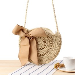 Discount japanese crochet - New cute bow crossbody woven bag Japanese and Korean style hand-crocheted round straw bag female beach