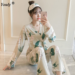 Two 2 pieces Printed Women Pajamas Sets 2019 Spring Sleepwear Long Sleeve  Trousers Pants Flower Sexy Cute Nightwear Pyjama Suit 388ef7733