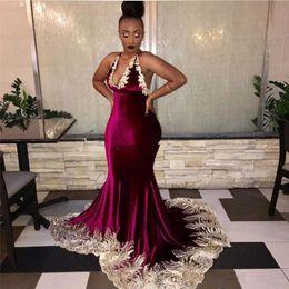 90ed22d2d2 Fabulous Lace Mermaid Backless Prom Dresses Deep V Neck Appliqued Plus Size  Evening Gowns Velvet Sweep Train Formal Dress