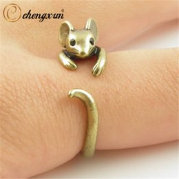 boho chic jewelry Canada - Fashion Jewelry Rings CHENGXUN Boho Chic Vintage Brass Knuckle Adjustable Mouse Animal Wrap Weeding Ring Ladies Fashion Jewelry Gift