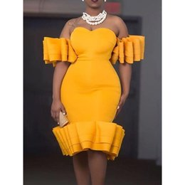 857c631be94df Summer Party Élégant Sexy Club Office Dame Femmes Robes Moulante Africaine  Falbala Solide Plage Voyage Femelle De Mode Robe Jaune