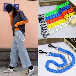 trouser chain Australia - 2020 Summer Harajuku Resin Trousers Chain Punk Acrylic Candy Color Double Layers Hip-Hop Hipster Pants Key Chain Men Accessories