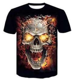 Cheap Casual Clothing online shopping - Discount Cheap round neck D digital skull print t shirt men s short sleeve Casual loose printed t shirt men s clothing apparel Sport