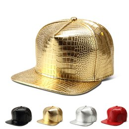 leather snapbacks wholesale Australia - DHL ups TNT ship Vogue Crocodile hip hop rap PU Hats Gold Rhinestone Street DJ Money Baseball Caps men women Sports Caps