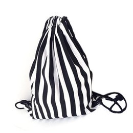 wholesale reusable drawstring bags UK - 15PCS   LOT Drawstring Bags Stripe Printing Travel Backpack Portable Multifunctional Pouch Canvas Reusable Pouch Wholesale