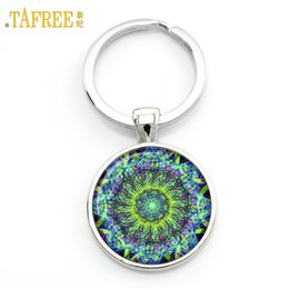 gold om pendants NZ - Cheap Chains TAFREE Key chain Mandala Art Picture Glass Cabochon pendant Keychains Sacred Geometry Yoga Om Fashion Jewelry Key ring M01-17