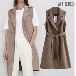 vintage vests women Australia - Withered england simple suede vest women vintage solid sashes notched long vest jacket women casaco feminino jaqueta feminina