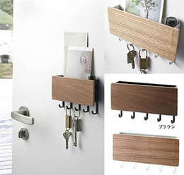 Wholesale Wall-hung Type Wooden Decorative Wall Shelf Sundries Storage Box Prateleira Hanger Organizer Key Rack Wood Wall Shelf