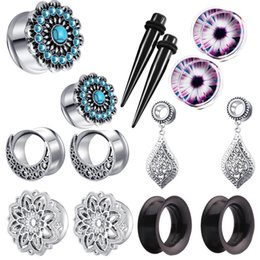 ear stretcher kits Australia - JUNLOWPY 2pcs Ear Tunnel Plug Stainless Steel Gauges Stretcher Body Piercing Kit Expander 10mm 8mm 00g 0g 2g Earrings Dangle
