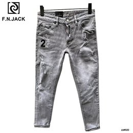 zip jeans men 2019 - F.N.JACK Classic Cool Guy Men's Jeans Slim Straight Full Length Zip Man Denim Pants cheap zip jeans men