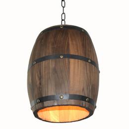 Creative Retro Distinctive Wood Wine Barrel Hanging Fixture Ceiling Pendant Decoration Lamp Lighting Bar Restaurant Cafe Ceiling Light on Sale