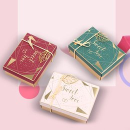 Discount candy box sweet day - 20pcs Gift Paper Box Birthday Wedding Valentine's Day Party Paper Box With Ribbon Gold Leaf Decor Candy Sweet Love