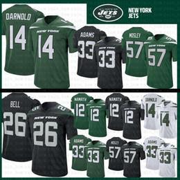 Venta al por mayor de 14 Sam Darnold 26 Le'Veon Bell Jets Camiseta de fútbol Hombre Nueva York 33 Jamal Adams 57 C.J. Mosley 12 Joe Namath Jets 95 Quinnen Williams Negro