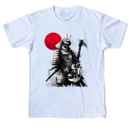 moon printed tee NZ - Encore Red Moon Edition Samurai T-Shirt Men's 100% Cotton Fashion Anime T-Shirt Crew Neck Short Sleeve Street Tees Shirt Casual Printed Tops