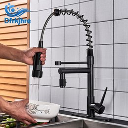 Pull Out Spring Faucet NZ - Blackend Spring Kitchen Faucet Pull out Side Sprayer Dual Spout Single Handle Mixer Tap Sink Faucet 360 Rotation Kitchen Faucets