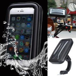 Mirror Mount Phone Holder Australia - Universal Waterproof Motorcycle Phone Holder Bike Rear View Mirror Mount Case Phone Holder Bag Stand Bracket for and GPS
