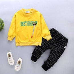 Boy Chinese Suit Australia - 2019 New Spring Infant Clothing Baby Boys Girl Clothes Suit Kid Casual Letter T-shirt Pants 2pcs Sets Children Toddler Tracksuit