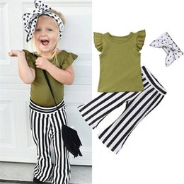 T Shirt Trouser Baby Girl Australia - Ins Summer 2019 Fashion Girls Outfits 3pcs Kids Sets Girl Suit T shirt+stripe Flared trousers+bows headband Baby Suit girls clothes A4854