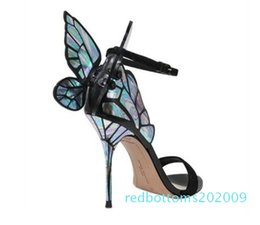 pink sandals for wedding UK - Sophia Webster Sandals Genuine Leather Pumps Butterfly High Heel Sandals For Women Sexy Stiletto Shoes r09