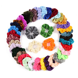 Hair gums online shopping - 50 colors Velvet Scrunchie Women Girls Elastic Hair Rubber Bands Accessories Gum For Women Tie Hair Ring Rope Ponytail Holder