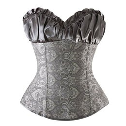 plus size corset top wedding dresses Canada - Women' Lace Up Boned Bustier Top Wedding Bridal Corset Dress Waist Trainer Gothic Steampunk Overbust Brocade Plus Size S-6XL