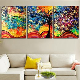 background prints Australia - New Style Canvas Painting 3 Panel Colorful Tree Prints Bedside Background Home Decor Wall Art Modular Picture Poster Hang Picture