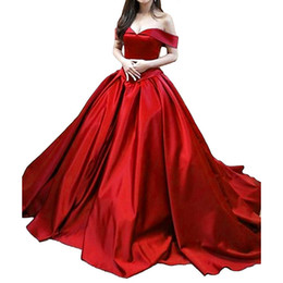 $enCountryForm.capitalKeyWord UK - Women's Vintage Ball Gown Long Satin Prom Dresses A-Line Off The Shoulder Evening Dresses with Pockets gala dress 2019