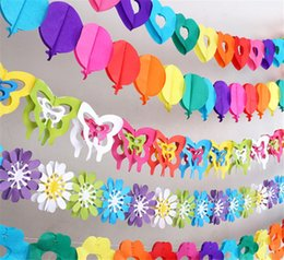 hanging flower props 2019 - Butterfly Flower Shaped Garland Lantern Paper Hanging Events Party Wedding Birthday Decorations Photo Props Background c