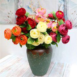 """White Tea Roses Australia - Fake Single Stem Camellia (5 heads piece) 22"""" Length Simulation Tea Rose for Wedding Home Decorative Artificial Flowers"""