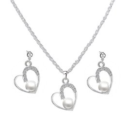 $enCountryForm.capitalKeyWord Australia - Elegant Pearl Jewelry Set Rhinestone Bijoux Trendy Heart Jewelry Set For women mother couple Bridal Wedding Jewelry Set