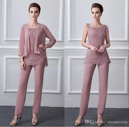 Jumpsuits Neckline Australia - Modest Pant Suits Chiffon Lace Scoop Neckline Full-length Mother Of The Bride Dresses With Beadings Coat Jacket Pantsuit Jumpsuit 3 Pieces