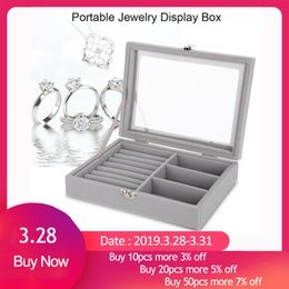 Portable Display Cases Wholesale Australia - Portable Velvet Jewelry Display Box Tray Holder Storage Organizer Earring Ring Bracelet Makeup Tool Gray Carring Case with Glass