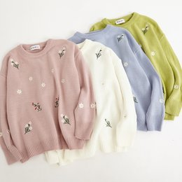 2018 harajuku women sweaters korean autumn winter clothes fashion pink  embroidery flowers cute knitted christmas sweater women 7d1590d3d3ef