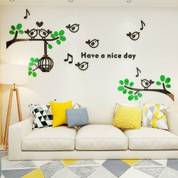 Tree Sticker For Blue Wall Australia - Bird Tree Acrylic 3D Stereo Wall Stickers For kids room TV Background DIY art decor Living Room Restaurant Home decoration