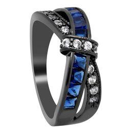Venta al por mayor de Nueva púrpura rosa roja del color cruzar los anillos de dedo compromiso de la boda para la señora Paved Cz Zircon lujo caliente princesa mujeres anillo joyería