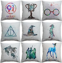 $enCountryForm.capitalKeyWord Canada - Harry Potter Cushion Cover Watercolor Painting Sorting Hat the Goblet of Fire Art Cushion Covers Sofa Decorative Linen Cotton Pillow Case