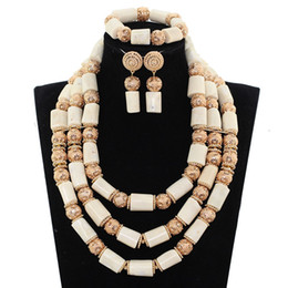 $enCountryForm.capitalKeyWord Australia - Real Original Coral Bold Statement African Jewelry Set Charms Nigerian White Coral Beads Wedding Jewelry Set for Women ABH594