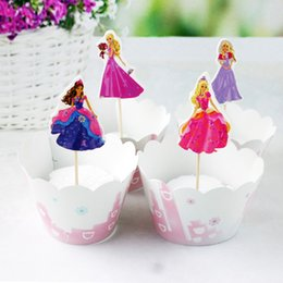 Princess Cupcakes Toppers Australia - 12 set lot Pretty Barbie princess Cupcake Wrappers & Topper for Kids Birthday wedding Event Party cake Decoration Supplies