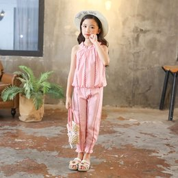 Kids Coat Pant Suit Australia - Clothing Fashion Summer Kids Sleeveless Shirt + Pants Girls Clothes Sets Outfits 8 10 12 14 Years Children Suits Q190523