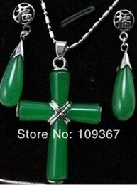 $enCountryForm.capitalKeyWord Australia - Noblest lady's fine Exquisite pretty green stone Cross Pendant Necklace Earring set Silver Jewelry Sets shipping free 925 silver